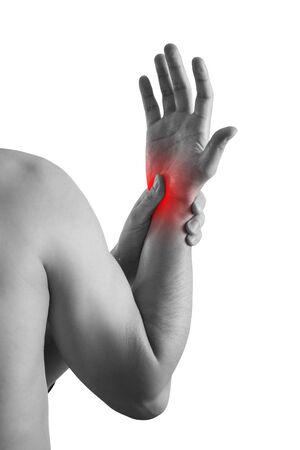 Pain in hand, carpal tunnel syndrome isolated on white background, painful area highlighted in red