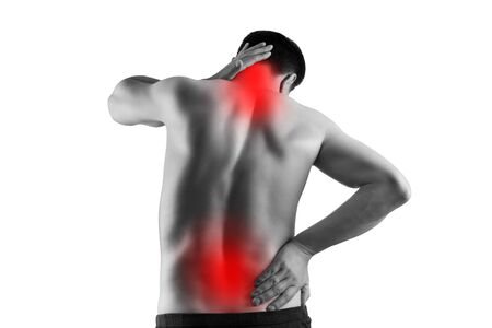 Pain in the male body, man with back ache, sciatica and scoliosis isolated on white background, chiropractor treatment concept, painful area highlighted in red