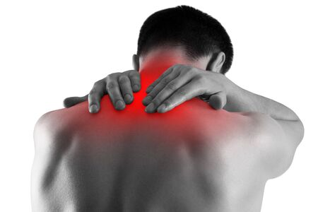 Neck pain, man suffering from backache isolated on white background, painful area highlighted in red 免版税图像