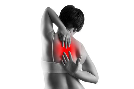 Back pain, woman suffering from backache isolated on white background, painful area highlighted in red