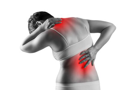 Pain in the male body, woman with back ache, sciatica and scoliosis isolated on white background, chiropractor treatment concept, painful area highlighted in red