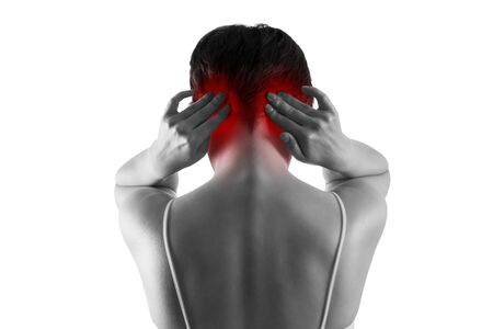 Headache and migraine, woman with head pain isolated on white background, painful area highlighted in red Stockfoto