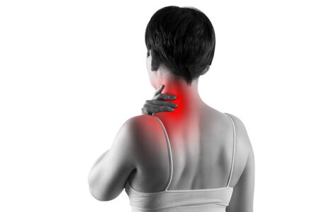 Neck pain, woman suffering from backache isolated on white background, painful area highlighted in red