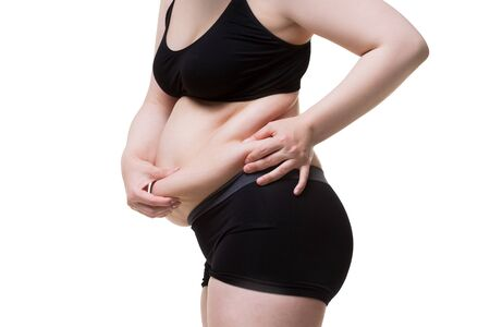 Abdominoplastia, piel flácida en un vientre gordo, concepto de cirugía plástica aislado sobre fondo blanco.