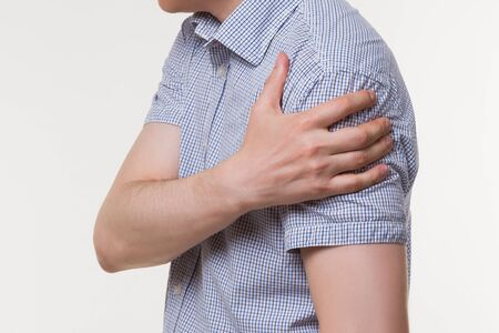 Shoulder pain, ache in a man's arm, sports injury concept Фото со стока - 131140238