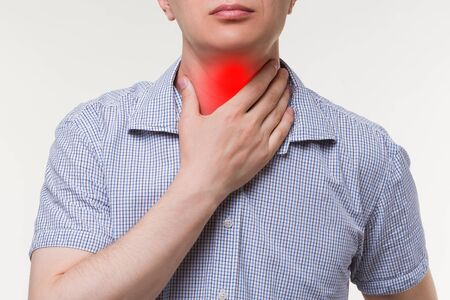 Sore throat, men with neck pain, painful area highlighted in red