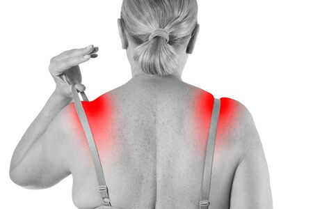Woman with irritated skin under bra, irritation on the body from underwear isolated on white background, painful area highlighted in red