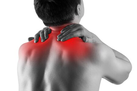 Neck pain, man suffering from backache isolated on white background, painful area highlighted in red Фото со стока