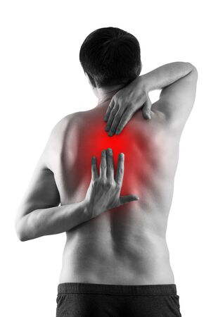 Pain between the shoulder blades, man suffering from backache isolated on white background, painful area highlighted in red