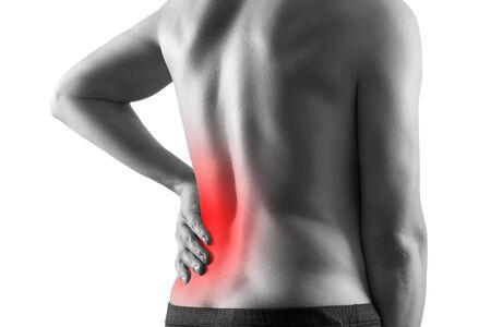 Cálculos renales, dolor en el cuerpo de un hombre aislado sobre fondo blanco, enfermedades crónicas del concepto del sistema urinario, área dolorosa resaltada en rojo