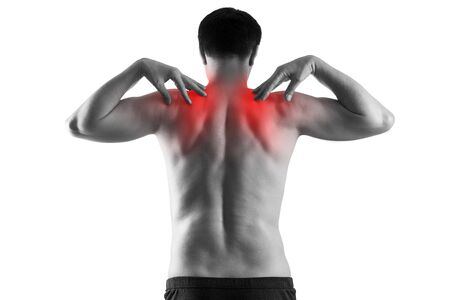 Shoulder pain, man suffering from backache isolated on white background, painful area highlighted in red