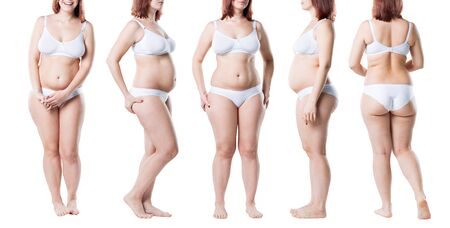 Fat woman in underwear, overweight female body isolated on white background, collage of several photos