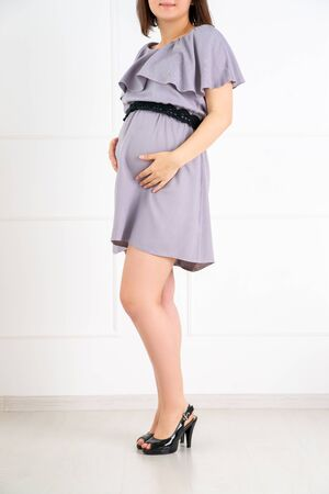 Maternity clothes, pregnant woman in a gray dress in the home interior, pregnancy concept