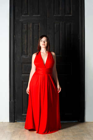 Beautiful sexy woman in red dress background. Banque d'images