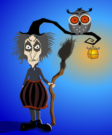 Witch with curve Hat and Owl