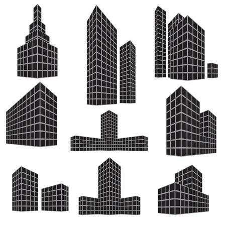apartment buildings: Building icon set. Vector illustration