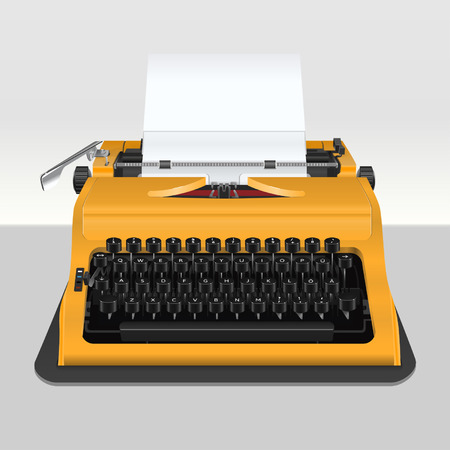 type writer: Realistic typewriter with sheet of paper - isolated on grey. Vector illustration