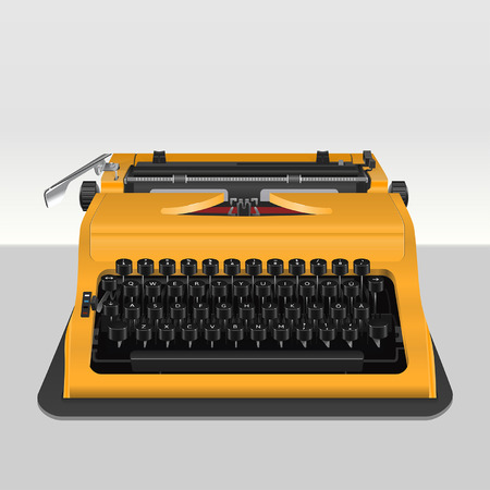 typewriter machine: Realistic typewriter isolated on grey. Vector illustration