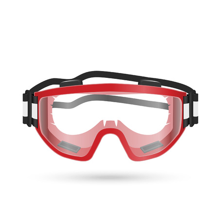 safety goggles: Safety goggles with closed vent isolated on white. Vector illustration