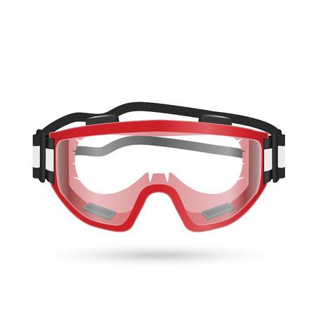 Veiligheidsbril met gesloten vent op wit wordt geïsoleerd. Vector illustratie Vector Illustratie