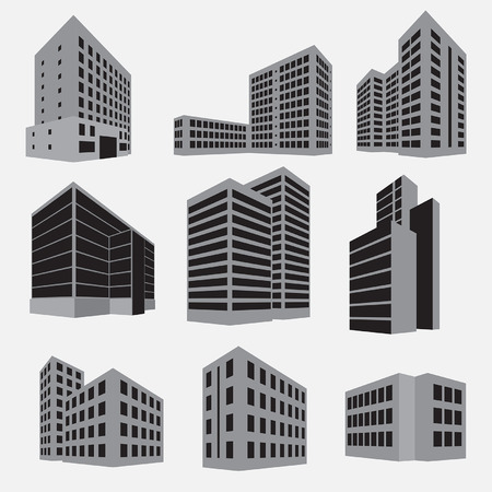 flat roof: Building icon set. Vector illustration