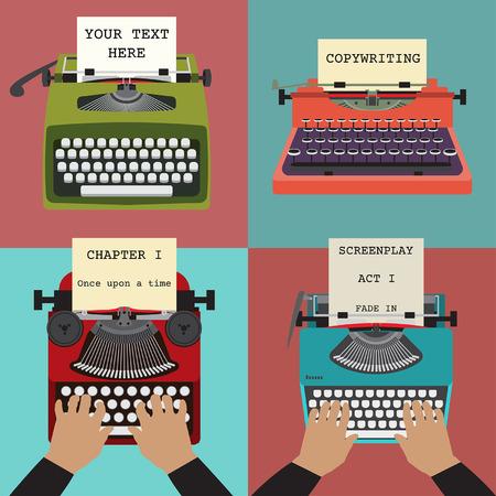レトロなタイプライターの 4 つの図。書き込み、コピーを書いて、脚本などの概念