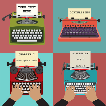 Vier Illustration von Retro-Schreibmaschinen. Konzepte des Schreibens, Text, Drehbuch etc.