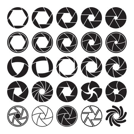 Set di icone di scatto della fotocamera nero su sfondo bianco.