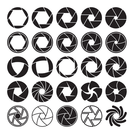 shutter aperture: Set of black camera shutter icons on white background.