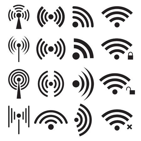 remote lock: Conjunto de iconos de conexiones inal�mbricas y wifi negro. Vectores