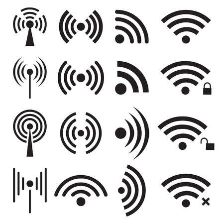 unlocked: Set of black wireless and wifi icons.