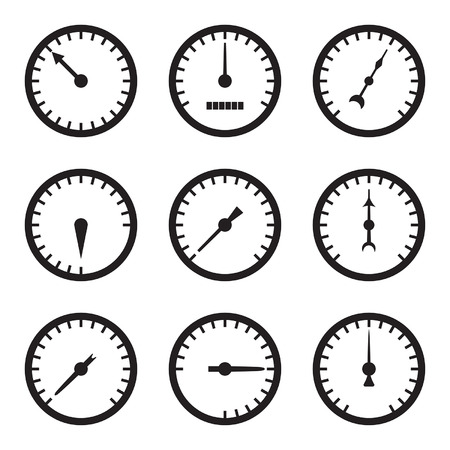 Set of black meter icons.  Vector