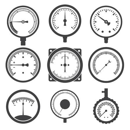 oxigeno: Manómetro (indicador de presión) y vacuómetro iconos. Ilustración vectorial