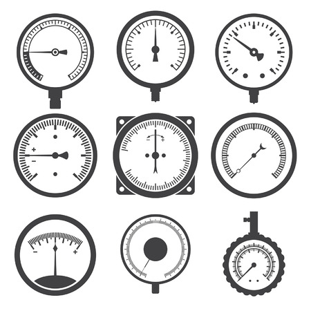 valve: Manometer (pressure gauge) and vacuum gauge icons. Vector illustration