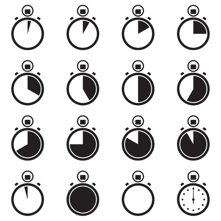Set of simple black stopwatch icons, showing different time intervals . Vector