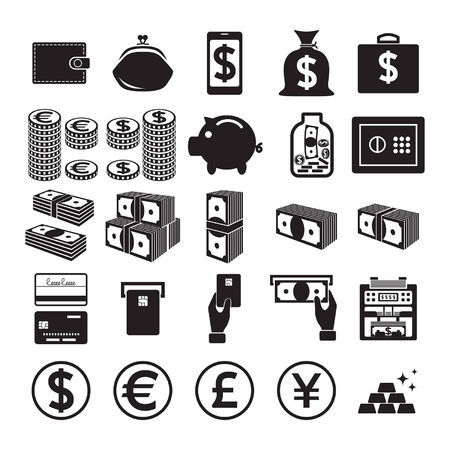 Set of money icons.  Vector