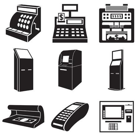 Icônes d'appareils pour l'argent: caisse, facture comptoir, guichet automatique, terminal de paiement, détecteur de monnaie.