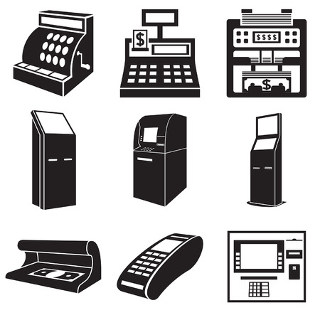 Icons of devices for money: cash register, bill counter, ATM, payment terminal, currency detector. Vector