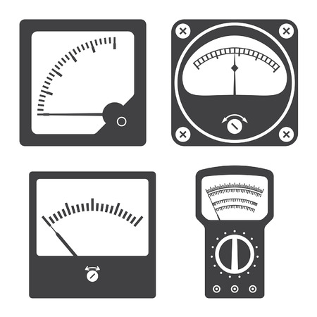 voltmeter: Icons of electrical measuring instruments.  Illustration