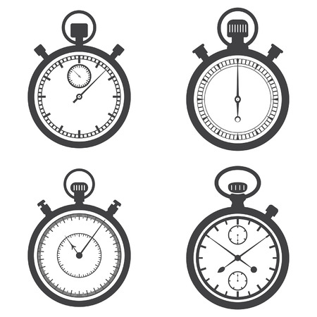 black clock hands: Stopwatches and a chronometer. Vector illustration Illustration