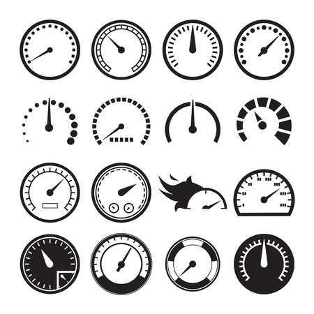 Set of speedometers icons. Vector illustration Иллюстрация