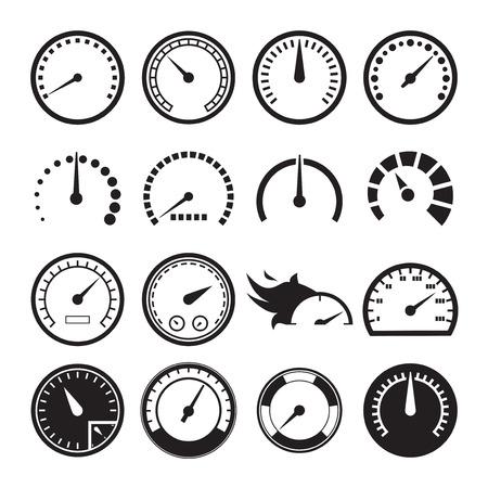 Zestaw prędkościomierzy ikon. ilustracji wektorowych