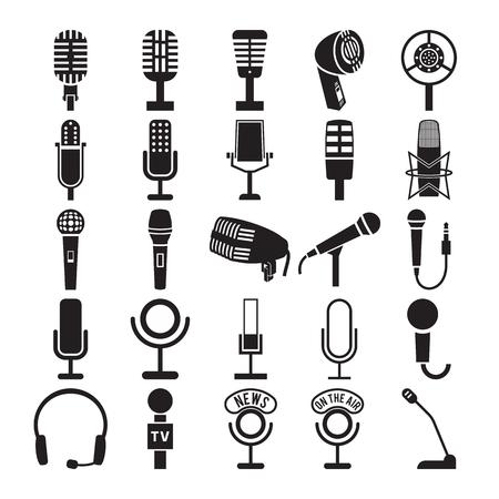 microfono antiguo: Iconos del micrófono. ilustración vectorial Vectores