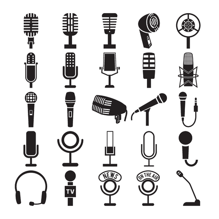 Microfoon iconen set. vector illustratie