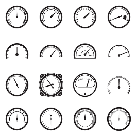tachometer: Set of tachometer icons. Black icons isolated on a white background. Vector illustration