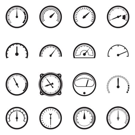 Set van toerenteller iconen. Zwarte pictogrammen geïsoleerd op een witte achtergrond. vector illustratie