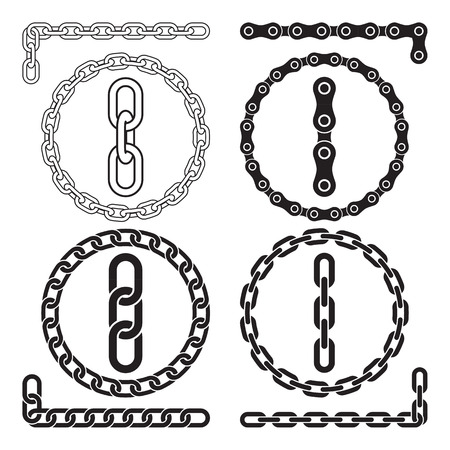 pressure linked: Chains. Vector illustration. Chain icons, parts, circles of chains. The file contains pattern brushes for all the four types of chains