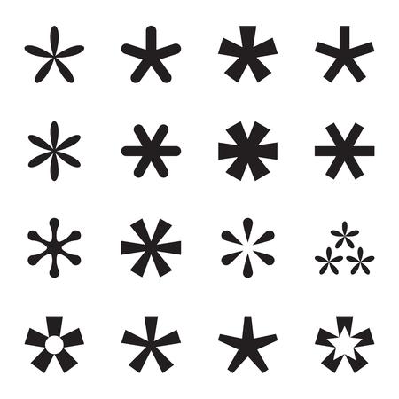establecen asterisco (nota al pie, estrella) iconos. Los iconos negros aislados en el fondo blanco. ilustración vectorial