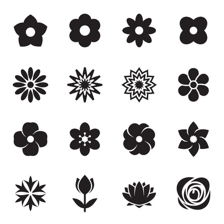 Flower icons isolated on a white background. Vector illustration
