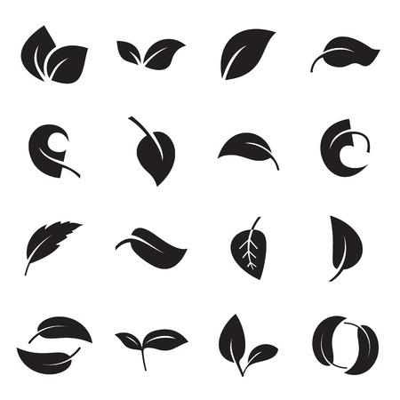 Ícones das folhas islolated em um fundo branco. Ilustração vetorial Ilustración de vector